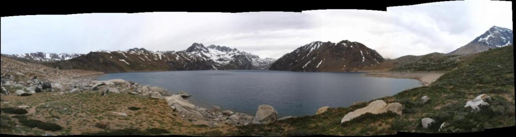 View from the south shore of Laguna Negra. The lake is 6 km long by 1.5 km wide, and 320 m deep.