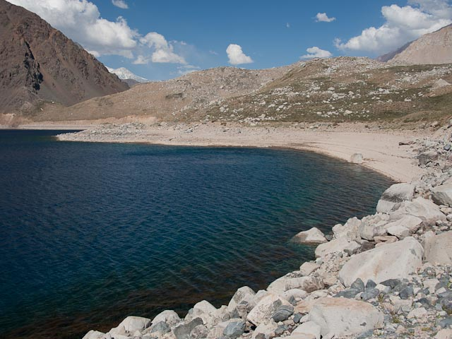 La Playa, the gravel beach on the southeast shore of Laguna Negra, as seen from PLL Base Camp. Credit: Henry Bortman