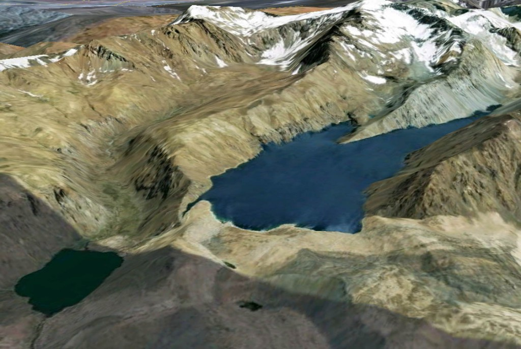 "The northwest ""finger"" of Laguna Negra can be seen near the center of this Goolge Earth image of the region. In the lower left, Laguna Lo Encañado is visible. Credit: Image ©2011 GeoEye/DigitalGlobe/Google; Data SIO/NOAA/U.S. Navy/NGA/GEBCO"